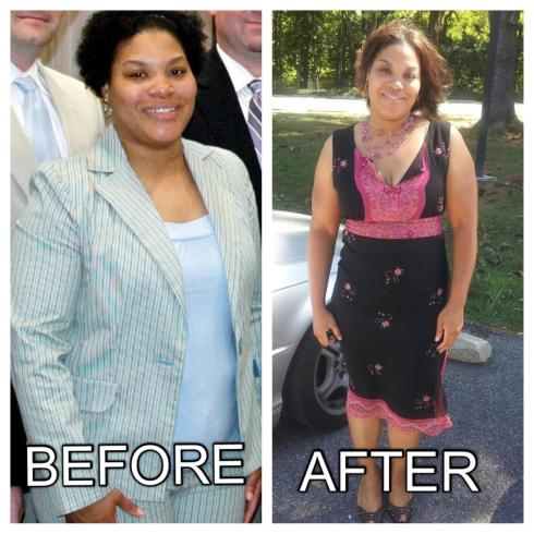 This photo was taken April 2011. Weight about 190 and suit size tight 12.  The After photo was taken September 2012.  Weight 160 and dress size 10.