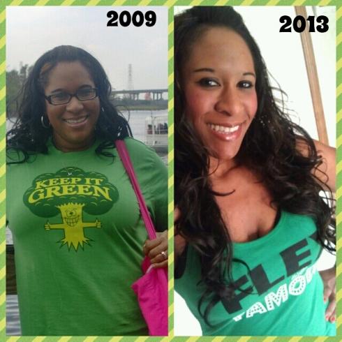 before after green shirt