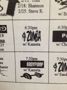Zumba schedule