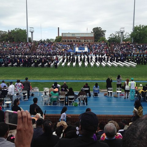 Outside at the Hampton graduation