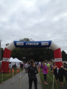 Photo of the finish line for those running in the 5K.
